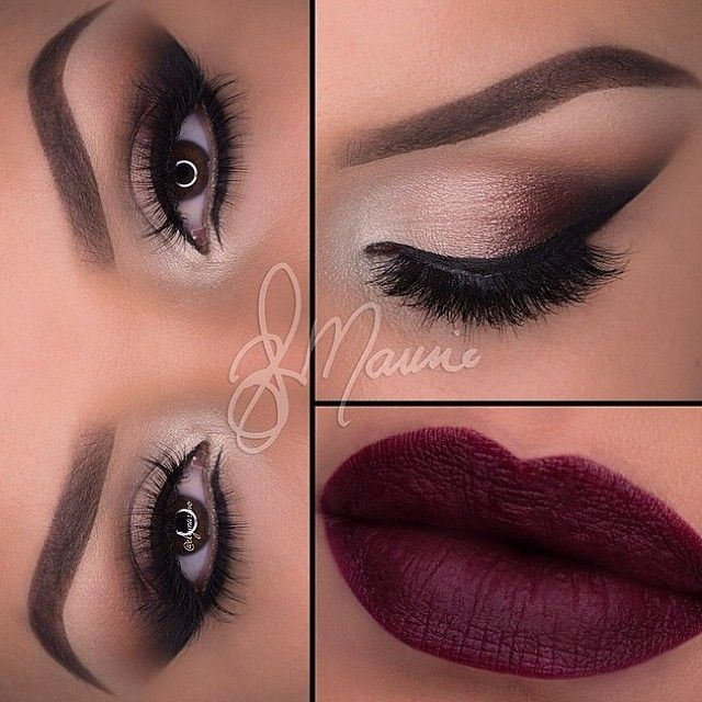 Beautiful Neutral Smokey Eye Makeup - Winged Eyeliner - Lashes - Dark Red Lips