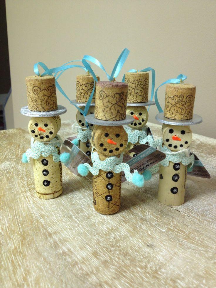 Snowmen+Wine+Cork+Ornaments+Blue+by+StudioEightySix+on+Etsy,+$20.00