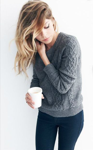 #fall #fashion / casual gray knit