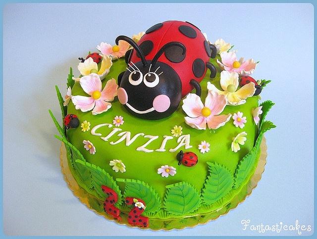 Ladybug with dogwood cake
