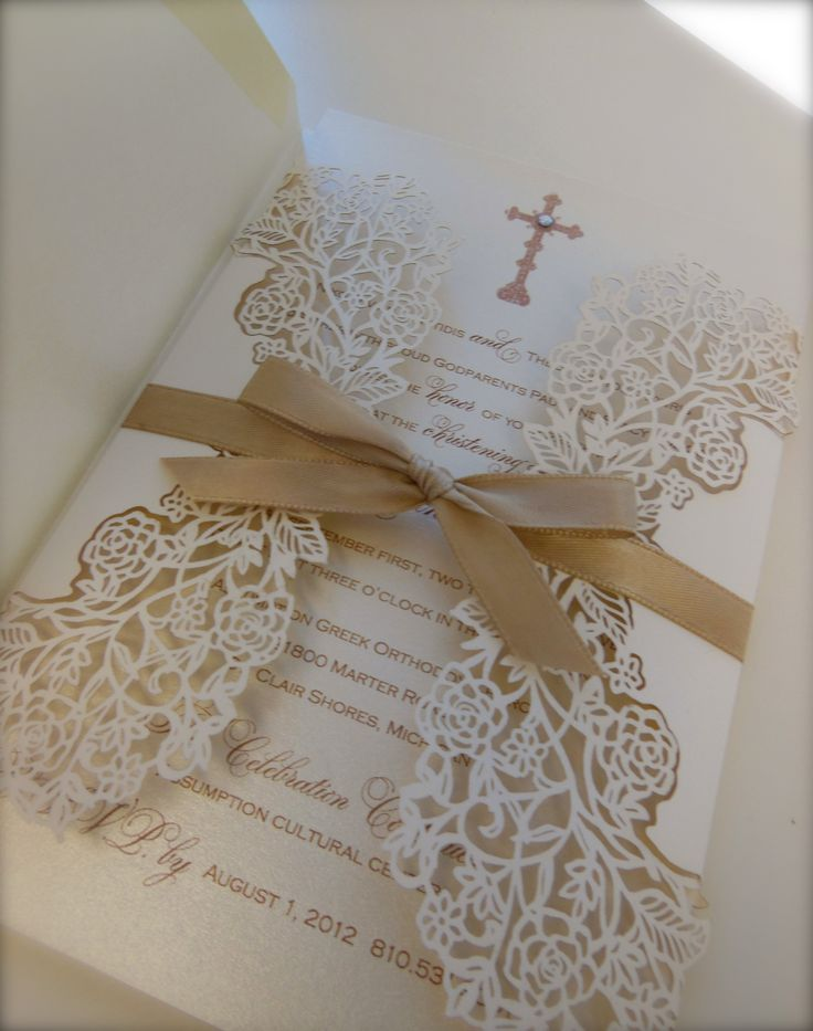 """Intricate"" Christening Invitation xo Embellishments Invitations"