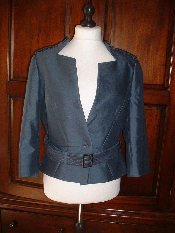 Lapels are a bit sharp for me? HOBBS Size 16 Air Force Blue Fully Lined Silk Mix Jacket