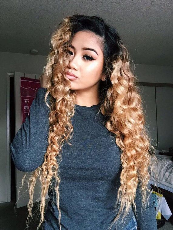 Custom U Part Wig Virgin U Part Brazilian  Wig Deep Wave Ombre Dip Dye Balayage  Colour 1b Off Black Colour 27 1b27 Blonde  1