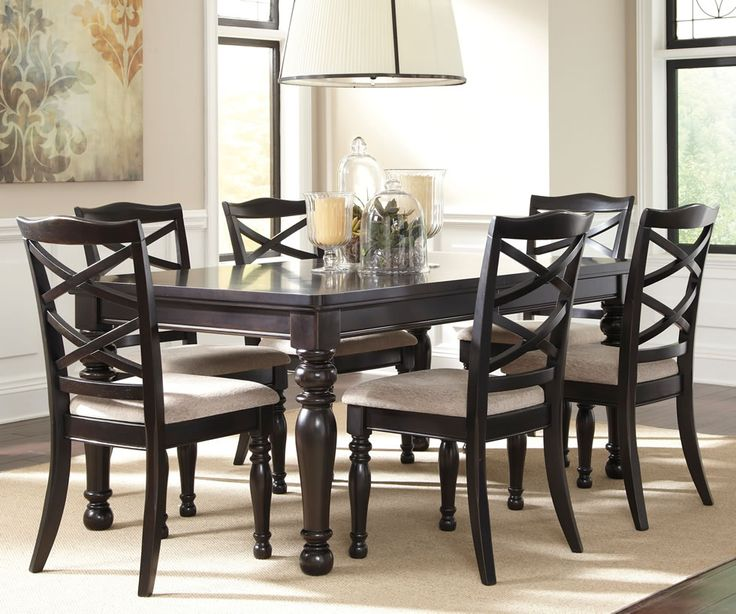 Black Dinette Sets | Harlstern Black Dining Set With Turned Legs Extension  Table