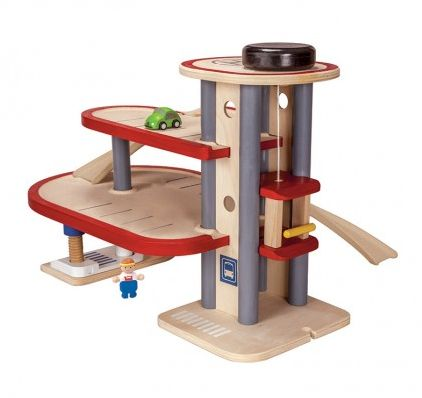 Wooden Parking Garage Play Set ~  This gorgeous wooden play set consists of three floors of parking space, a working lift, a helipad, eco charging station, car repair, bus stop, figure and car.  Suitable for ages 3+  £74.99