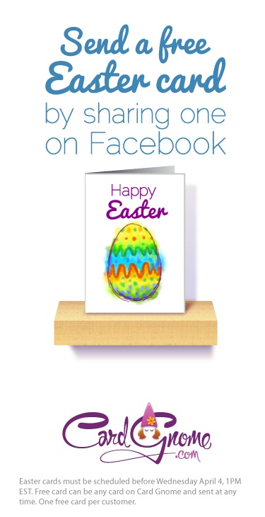 We'll give you a FREE card just for finding and sharing your favorite Card Gnome Easter card on Facebook. It's kinda like an egg hunt, only with cards! ;)  Hurry, we have 5k to give away and they're going fast!    http://www.cardgnome.com/holidays/easter