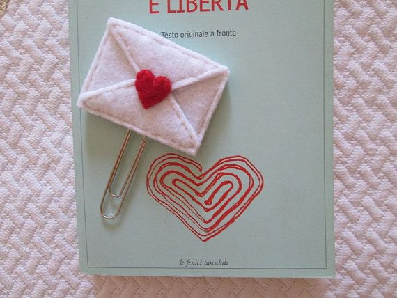 Love Letter bookmark, Felt Tiny Letter, Felt bookmark, School paper clip, Bookworm's gift, Felt Handmade, Gift for Valentine's day