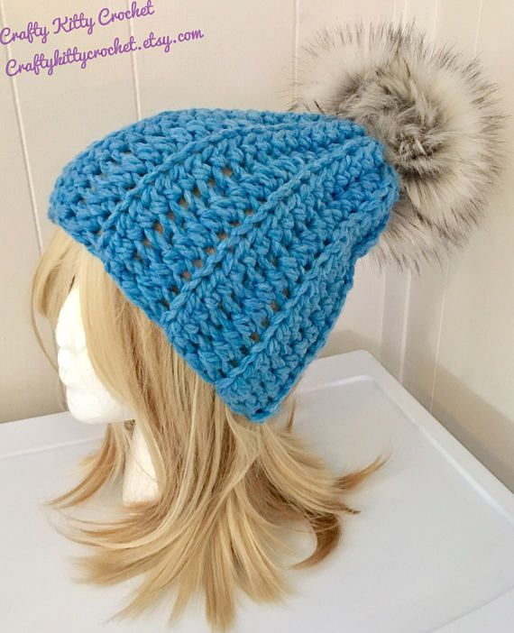 4a97c08bf92 READY TO SHIP Chunky Crochet Hat with Faux Fur Pom Pom