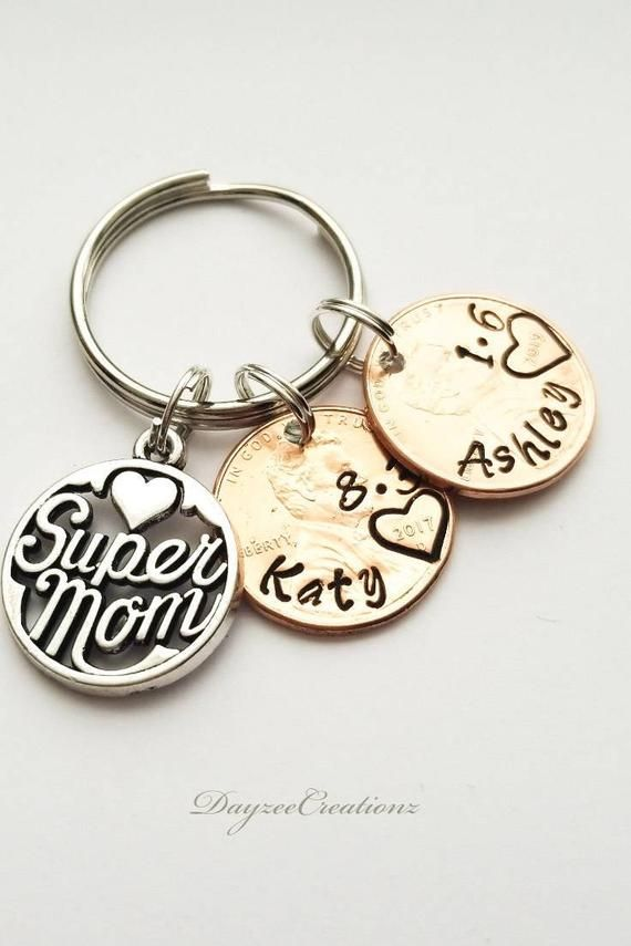 Personalized Mom Lucky Penny Keychain Gift For