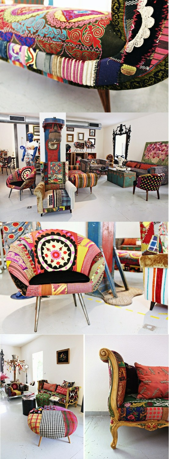 DESIGNS BY BOKJA. A gorgeous mixture of Middle Eastern and Asian influenced fabrics take the cake on these vintage furniture pieces; with no real apprehension for busy patterns or crazy mismatching happening at all. Not only are the colors and patterns insane, but don't forget to pair the pieces with an eclectic mirror and colorful draperies to get the most out of these unique furniture items!