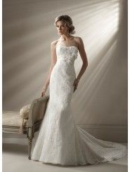 Lace And Organza Strapless Dipped Neckline Fit and Flare  A-line Wedding Dress