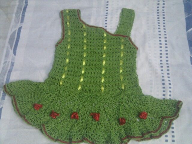 Awsome crochet green frock