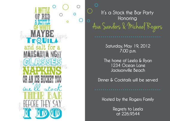 stock the bar invitation   any colors