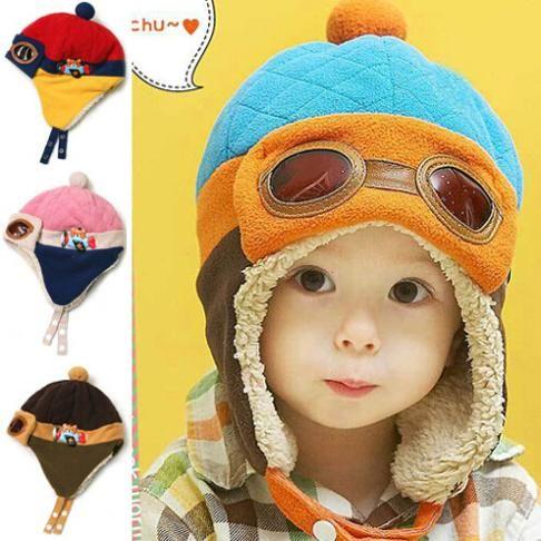 Малыши прохладный мальчика дети младенческой зима пилот-авиатора теплая шапка шляпа шапочка mulit вариант цвета