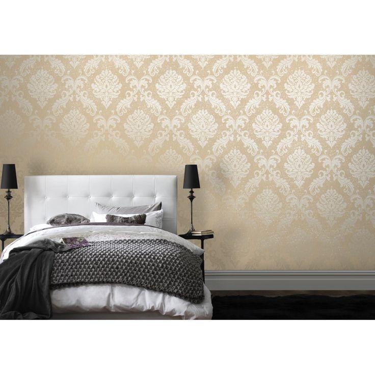 Henderson interiors chelsea glitter damask wallpaper cream for Gold bedroom wallpaper