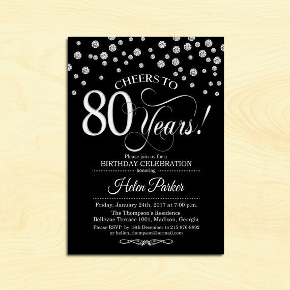 the 25+ best 80th birthday invitations ideas on pinterest | 70th, Birthday invitations