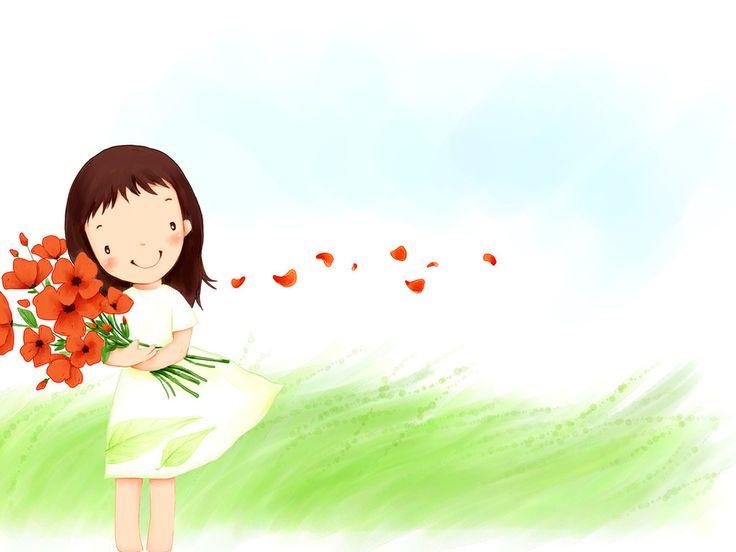 Девочка с букетом цветов картинки 2
