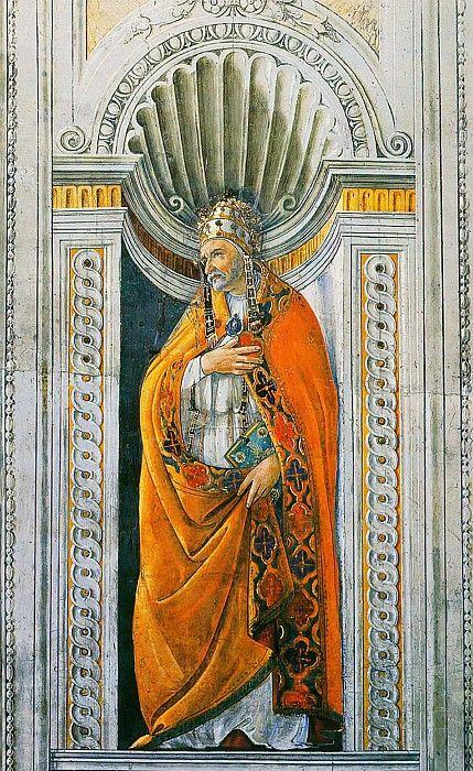 Сандро Боттичелли (1445-1510). Фрески: lilac2012 Папа Римский Сикст II Музеи Ватикана, Ватикан (Musei Vaticani, Vatican). 1481. 210 x 80. фреска. Сикстинская капелла