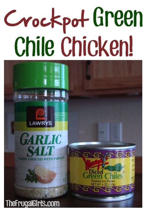 Crock Pot Green Chile Chicken ~ This is so yummy, SO easy to make, and perfect for Taco night!!