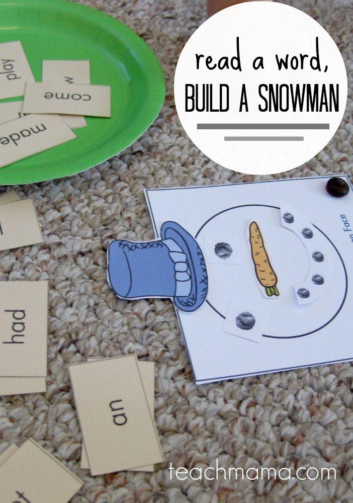 early literacy game for kids: read a word, build a snowman   free printable   teachmama.com #weteach
