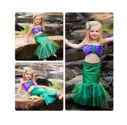 FREE SHIPPING to the United States  Description: Girl mermaid tail costume Princess Ariel the little mermaid costume for girl costume kids dress swimming suit cosplay