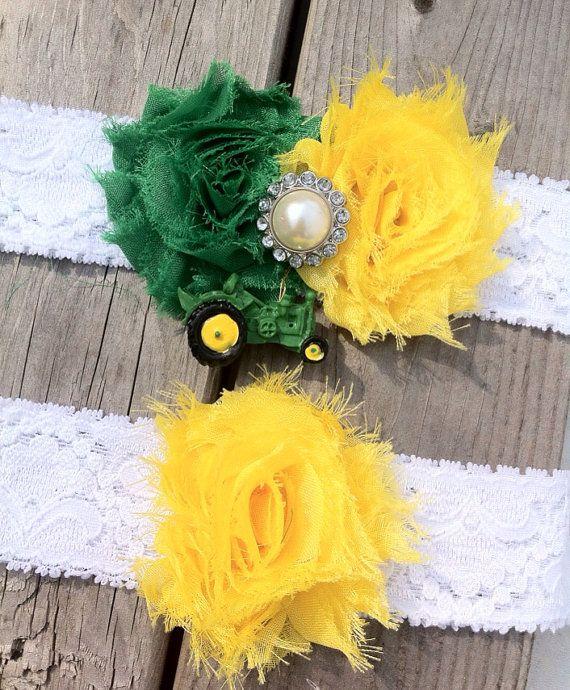 Wedding Garter John Deere green yellow by ThePinkBunnyWeddings, $24.00