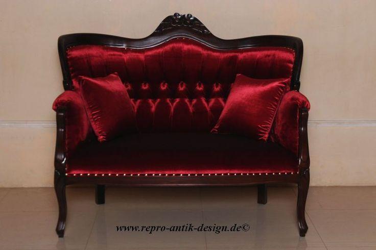 Barock Sofa Louis XV Repro Antik Design Neu Barocksofa Couch Tête-à-Tête Samt in Möbel & Wohnen, Antiquitäten & Kunst | eBay