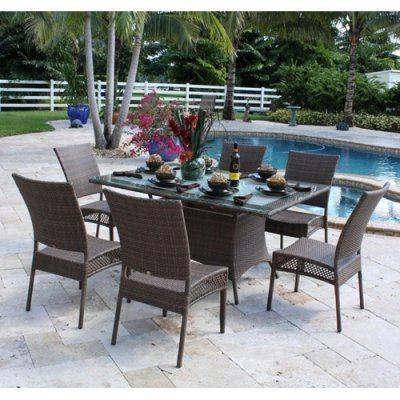 Grenada Patio 7 Piece Dining Set by Hospitality Rattan. $1759.50. 7 PC SET-604-DSC Features: -Weather and UV resistant.-Sturdy aluminum legs for extra support. Includes: -Set includes six side chairs and rectangular dining table.-Includes tempered frosted glass. Assembly Instructions: -No assembly required.