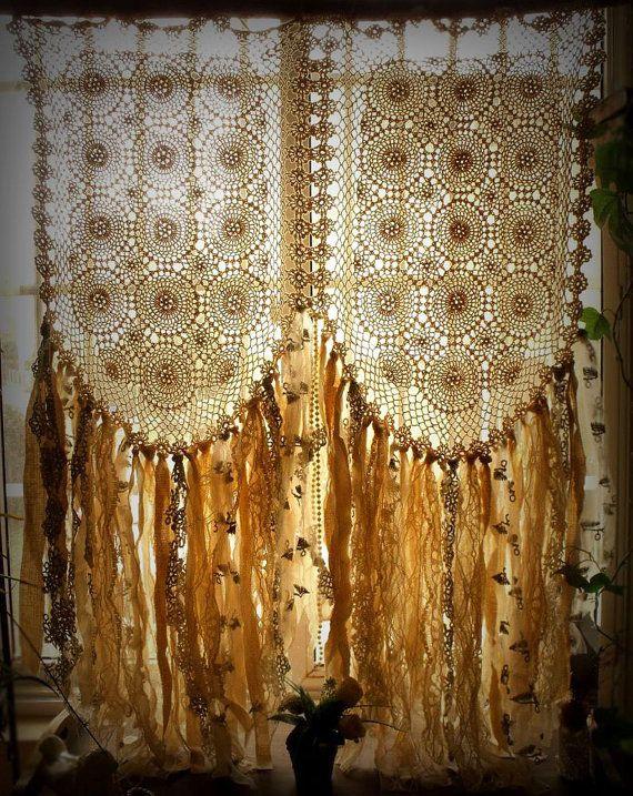 """Benutzerdefinierte romantische Vorhang, Boho Hippie-Platten, Vintage Crochet Vorhang, Lumpenvorhang böhmischen Creme 45 """"lang"""