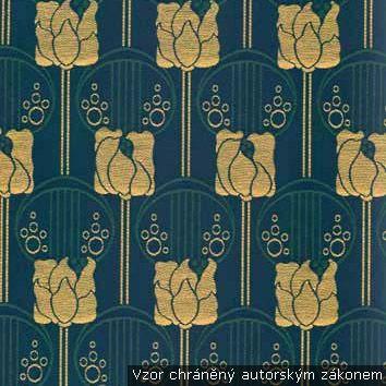 Secesní dekorační látka Německo 1900-1910 (růže) tm. modrá/tyrkysová/sv. hnědá