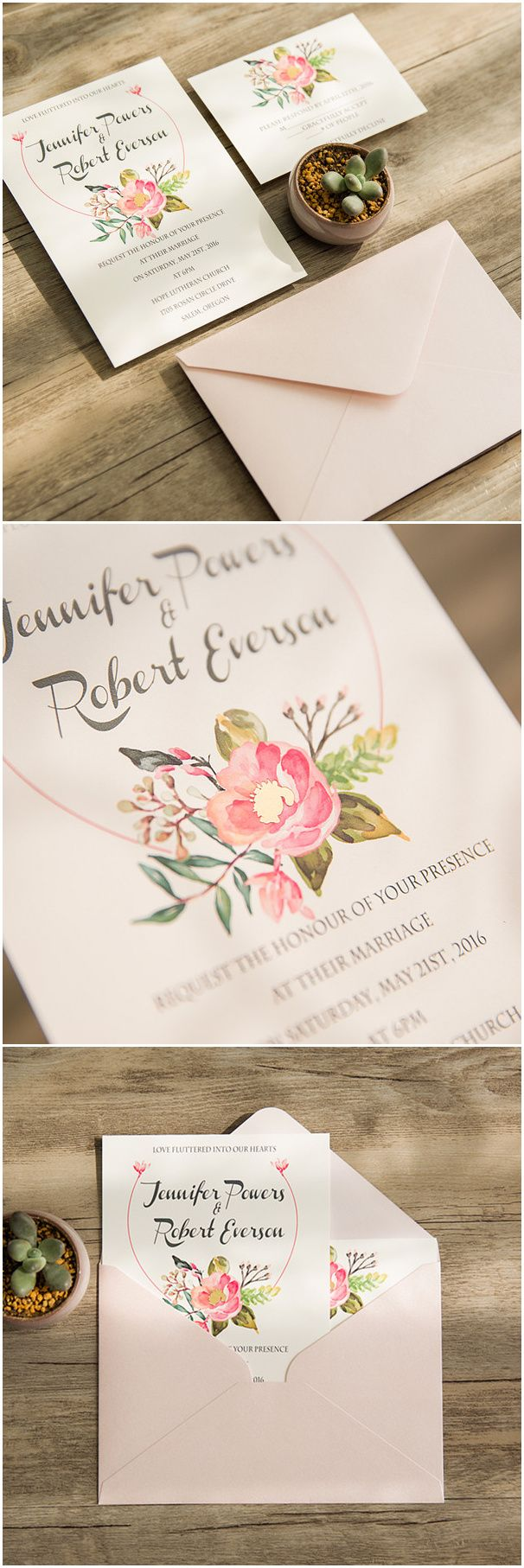 chic foiled floral wedding invitations for spring