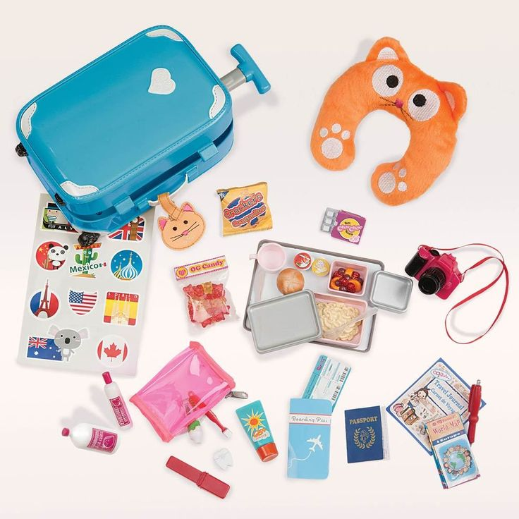 Our Generation  Well Travelled Luggage Set- Is your Our Generation doll of on a very long flight? Make sure they have everything they need for a comfortable journey with this Our Generation accessories set.