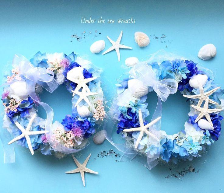 """190 Likes, 3 Comments - iri flores(イリフローレス) (@iriflores.botanica) on Instagram: """"Happy wedding! Under the sea wreaths. ・ 沖縄挙式でお渡しする贈呈リースのオーダーをいただきました(^^) ・ 海のブルーグラデーションを基調に、…"""""""