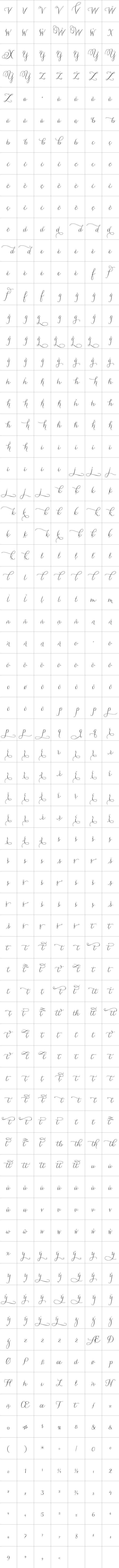 This is a listing of all 1,181 glyphs contained in the font
