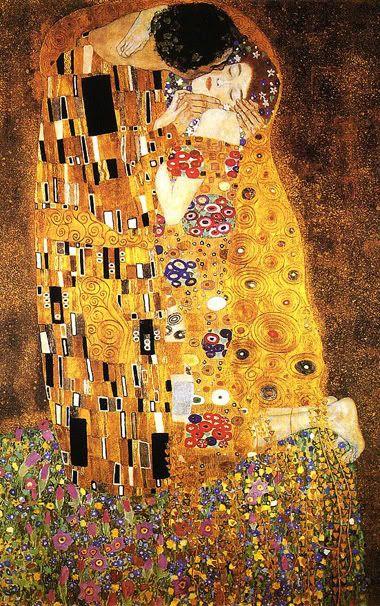 IL BACIO di Gustav Klimt  (1907) Forse il quadro più famoso del pittore austriaco, che contiene tutti i canoni dello stile Liberty e mi coinvolge. Sono un inguaribile romantico e vorrei essere io il protagonista di questo dipinto con il mio amore. Come nel dipinto, vorrei essere in un solo corpo con la mia anima gemella. Però lo so, sono anche fragile, come nel quadro, ho bisogno di una connessione totale con la persona amata.
