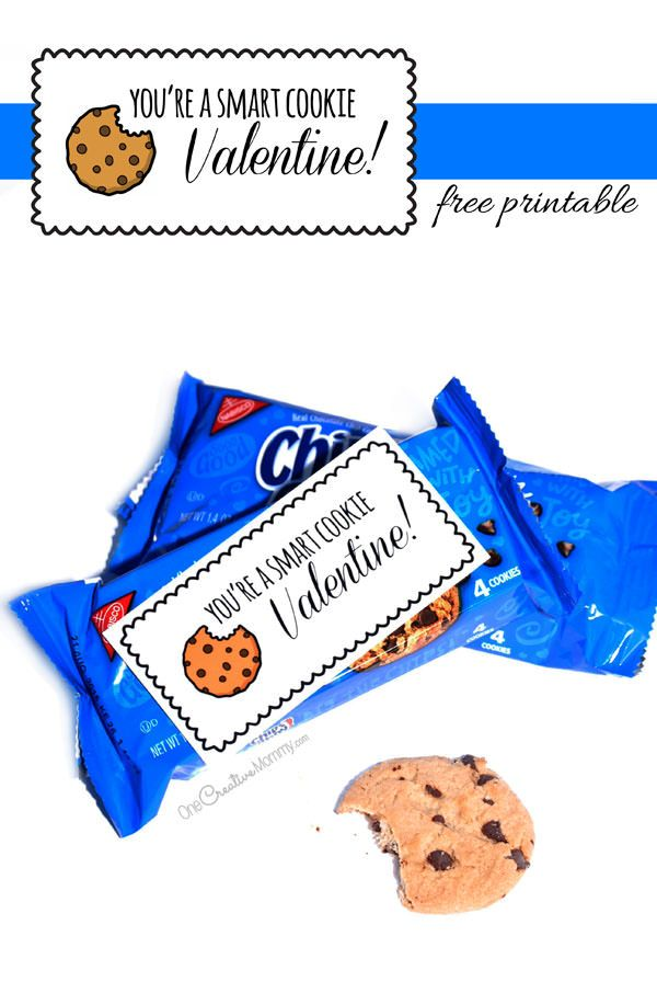 Do you have a Smart Cookie at your house? Show them you care with this adorable Free Printable Valentine. {Cute Printable from OneCreativeMommy.com} Just print and serve it up with your child's favorite cookies this Valentine's Day!
