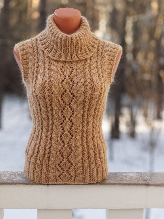 Stylish beige wool vest. Pancake Womens Wool Vest by OlgaKnit on Etsy. olgaknit.etsy.com