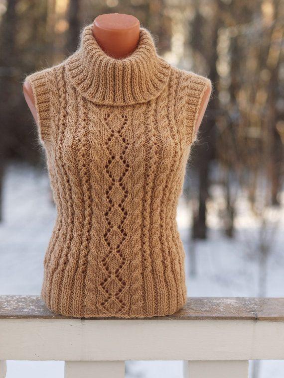 Stylish beige wool vest. Pancake Womens Wool Vest by OlgaKnit on Etsy. olgaknit.etsy.com