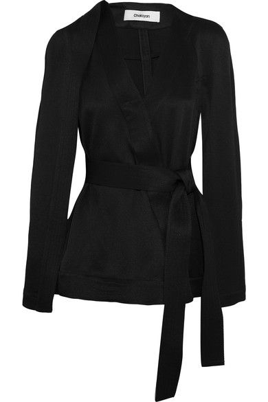 Chalayan - Cape-effect Belted Twill Jacket - Black - IT42