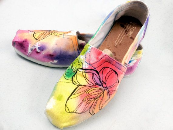 Rainbow Watercolor Hand painted Toms Shoe via Etsy