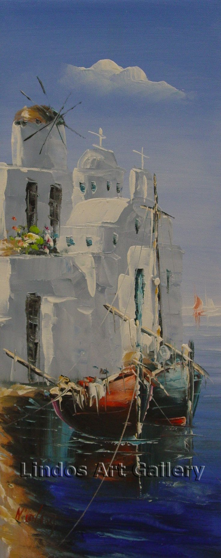 Oil Paintings : Paros Fishing Village Mounted Oil Painting