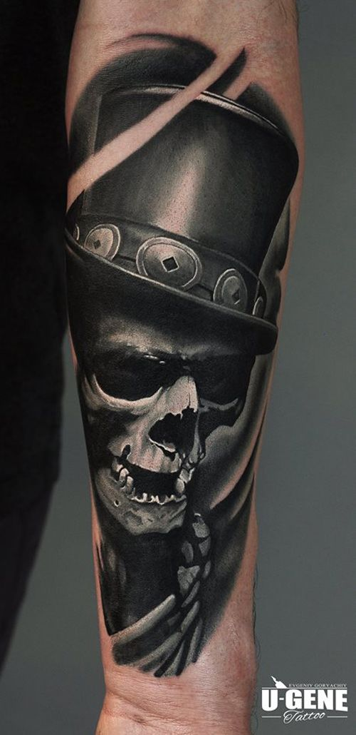 http://tattooideas247.com/skull-hat/ Skull & Hat #3D, #Bg, #BlackGrey…