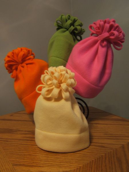 Good Morning All. Here are my pics of my easy fleece hats.  To make these hats is very simple. All you need is at least 1/2 yard of fleece to complete. Measure the stretchy side of material to …
