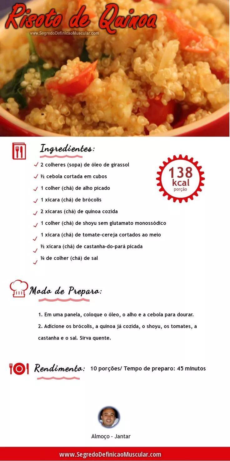 Risoto de Quinoa  → http://www.segredodefinicaomuscular.com/risoto-de-quinoa-leve-e-saudavel/  #Dieta