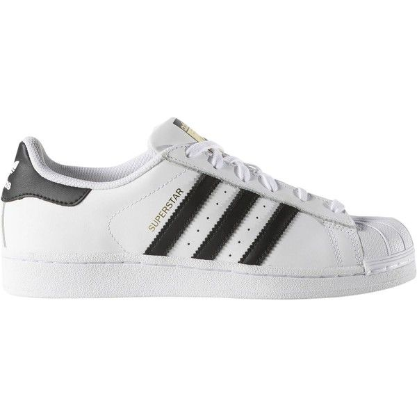 Adidas Superstar Shoe found on Polyvore featuring shoes, stripe shoes, adidas shoes, leather footwear, genuine leather shoes and antique shoes