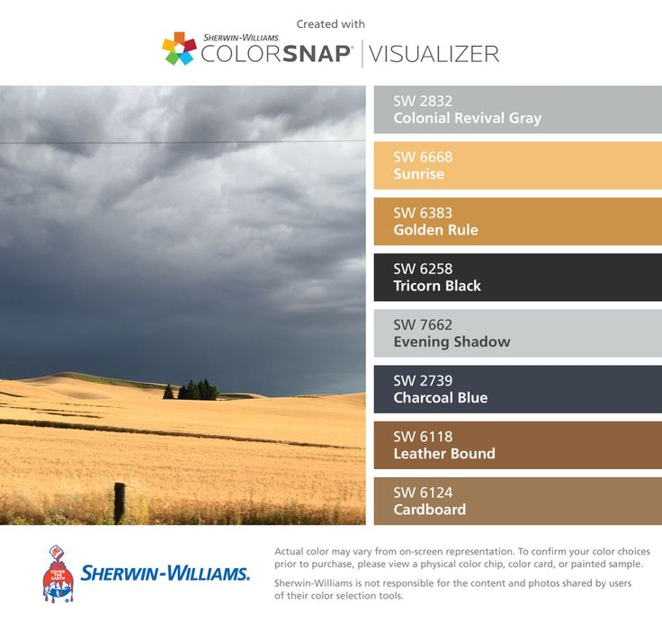 Colors | Combos | Palettes | Color Snap App | Sherwin-Williams | Colonial Revival Gray | Sunrise Yellow | Golden Rule | Tricorn Black | Evening Shadow | Charcoal Blue | Leather Bound Brown | Cardboard