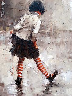 This painting by Andre Kohn reminds me of my own carefree, childhood days. Kohn is a figurative artist originally hailing from Russia. He primarily paints with oils but from time-to-time, will switch to mixed media paintings.
