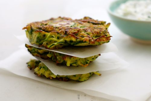 Courgette & Mint Rostis with Tzatziki