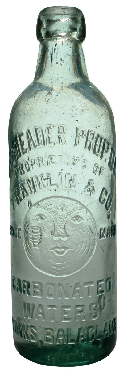 Meader, proprietors of Franklin & Co, Carbonated waters works, Balaclava. Moonface with drink trade mark. 26 oz