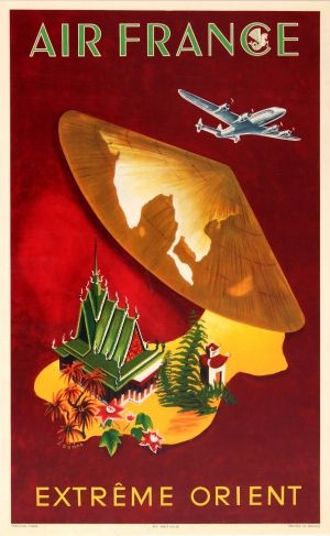 Air France Far East Dumas, 1950s - original vintage poster by G Dumas listed on AntikBar.co.uk